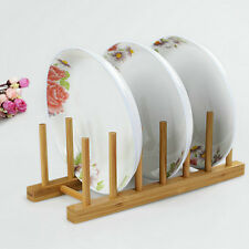 1X Tidy Bamboo Wood Kitchen Dish Plate Bowl Cup Book Pot Lid Rack Storage Holder