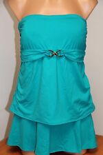 NWT Michael Kors Swimsuit Tankini 2 pc set Plus Sz 20W Skirt Tile Blue Strapless
