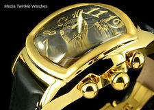 NEW Invicta Dragon Lupah SWISS PARTS Quartz Chronograph Gold Tone Leather Watch