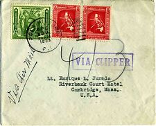 1938 Commercial Air Mail by Hawaii Clipper Flight Pola-Cambridge, MA FAM-14