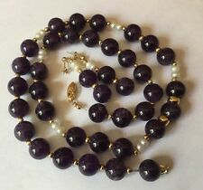Hallmarked 14ct Gold 10mm Amethyst Beads Pearl Necklace Earrings Set