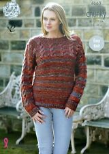 KNITTING PATTERN Ladies Easy Knit Long Sleeve Cable Jumper Chunky 4663