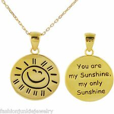 Gold You Are My Sunshine Stamped Necklace 2 SIDED - 925 Sterling Silver NEW