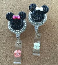 Bling Black Minnie Mouse retractable ID HOLDER badge reel lanyard retractor 2ps