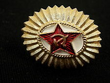 Vintage Soviet Russia USSR Military Hat Badge Red Star Hammer Sickle #3676