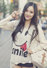 Asian Korean Womens Fashion Style Casual Cute Smiley Winking Face Loose Top