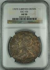 1707E Great Britain Silver Crown Coin ESC-103 Anne NGC AU-50 AKR