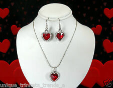 RED CRYSTAL HEART CHARM SILVER NECKLACE PENDANT EARRINGS SET VALENTINES DAY GIFT