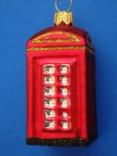 SMALL  LONDON ENGLAND PHONE BOOTH BLOWN GLASS CHRISTMAS ORNAMENT TELEPHONE