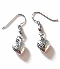 HYPOALLERGENIC SILVER HEART BRAIN EARRINGS french hook zombie love science M4