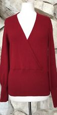 SAKS FIFTH AVE Womens red 100% Cashmere Long Sleeve Crossover V-Neck Sweater L