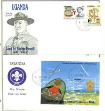 UGANDA BOY SCOUTS SCOTT #970-72 STAMP SET & SOUVENIR SHEET ON FDC 1992