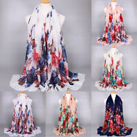 Women Fashion Flower Long Scarves Soft Wrap Shawl Voile Scarf Neck Stole Scarf