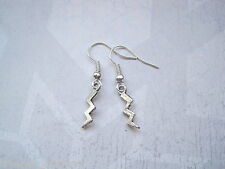 *LITTLE STORM LIGHTNING BOLT STRIKE* SP Drop Earrings Tibetan Silver Gift Bag