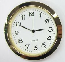 "2-1/8"" (55MM) PREMIUM QUARTZ CLOCK Insert, Gold Bezel, Metal Case, Arabic"