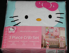 Hello Kitty & Puppy 3 Piece Crib Bedding Set girls nursery bedding new