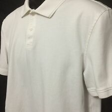 Calvin Klein White Collar Polo Rugby 100% Cotton Short Sleeve Shirt Mens Size M