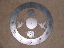 "Hummingbird wall clock back plate art 14"" wide decor steel elegant HBWC"