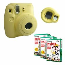 Fuji Instax Yellow Mini 8 Camera Instant Fujifilm Photo + 50 Film Selfie Lens