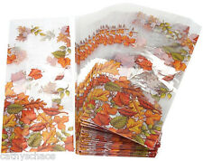 lot 25 Cello Goody Bags Halloween Fall Leaf Autumn Leaves Print Cookie Treats
