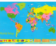 *NEW* Educational World Map  / Flags for Children - Chart Wall Poster 61x 91.5cm