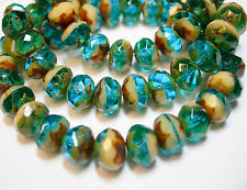 25 8x6mm Capri Blue / Ivory Picasso Czech Fire polished Rondelle beads