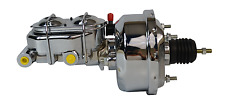 "7"" STREET ROD SINGLE POWER BRAKE BOOSTER W/ DUAL BAIL TOP MASTER CYLINDER CHROME"