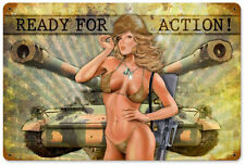 """Ready for Action"" Pin-Up Girl Vintage Metal Sign - Past Time Signs LETH066"