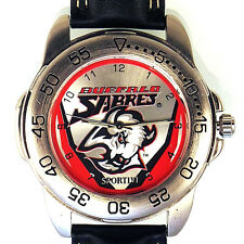 Buffalo Sabres Sportivi New Unworn Rare NHL Mens Vintage 1997 Leather Watch! $89