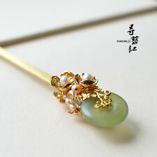 High Quality Chinese Classical Women Hairpin Natural Jade Ring Natural  Peals