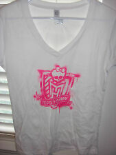 GIRL'S MONSTER HIGH LOGO - WHITE & PINK LOGO  T-SHIRT, SIZE L