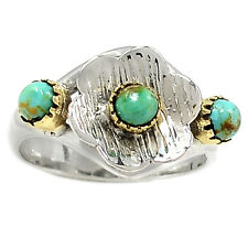 Two Tone - Sleeping Beauty Turquoise 925 Sterling Silver Ring s.9 SR204673