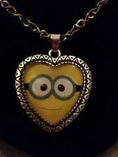 Cute New Despicable Me Heart Jewelry Necklace Glass Dome Pendant Necklace