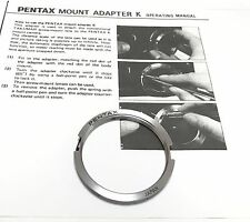 Genuine Pentax M42 Screw Mount to K Mount Adapter Excellent Condition Japan