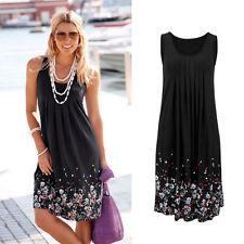 Women Summer Flower prints Sleeveless Evening Party Beach Dress Mini Lace Dress
