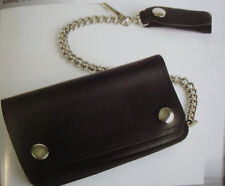 """BIG DOG MOTORCYCLES OILED LEATHER CHAIN WALLET 6"""" W/ LOGO MADE IN USA SNAP BDM"""