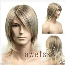 Fashion wig New sexy Men's Medium long Blonde Cosplay Natural Hair Wigs