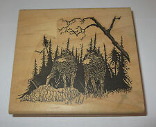 "Wolves Wolf Rubber Stamp Art Mountain Trees Forest Large 3 5/8"" High 4"" Long"