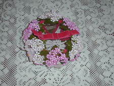 VINTAGE WOMENS HAT, VELVET RIBBON, FLOWERS, DOLLS CRAFTS, MINTY, BEAUTIFUL!!!!