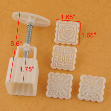 4X Square Moon Cake Fondant Sugarcraft Decorating Cookies Mold Mould Baking Tool