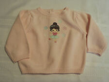 GYMBOREE Girls 6-12 Month Pink Cotton Winter Ballerina Long Sleeve Sweater NWT