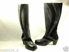 Dromedaris Giselle Mid Calf to Knee High Boots Size 11M Black Leather/ Suede NEW