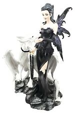 Gothic Dark Fairy Sorceress With Chained White Young Dragon Figurine Fairyland
