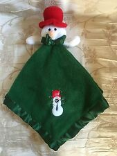 Blankets & Beyond Green FLEECE Snowman Security Blanket Plush Satin Trim Holiday