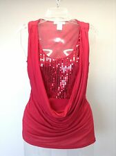 ARDEN B. Anthropologie Knit Holiday Sequin Inlay Drape Neck Sleeveless Top XS