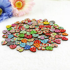100 Multicolor Heart Shape Wood Sewing Buttons Scrapbooking Knopf Bouton 2 Holes