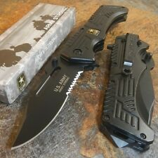 US ARMY Spring Assisted Open RESCUE Folding Pocket Tactical Military Blade Knife