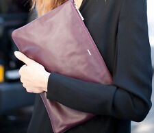 NWT $600 JIL SANDER Zip Top Envelope Clutch Bag Plum Wine LEATHER Handbag ITALY