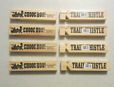 "8 NEW WOODEN TRAIN WHISTLES 5"" WOOD RAILROAD STEAM LOCOMOTIVE WHISTLE CHOO CHOO"