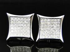 Men/Ladies New White Gold Finish Pave Kite Genuine Diamond Stud Earrings 13 mm